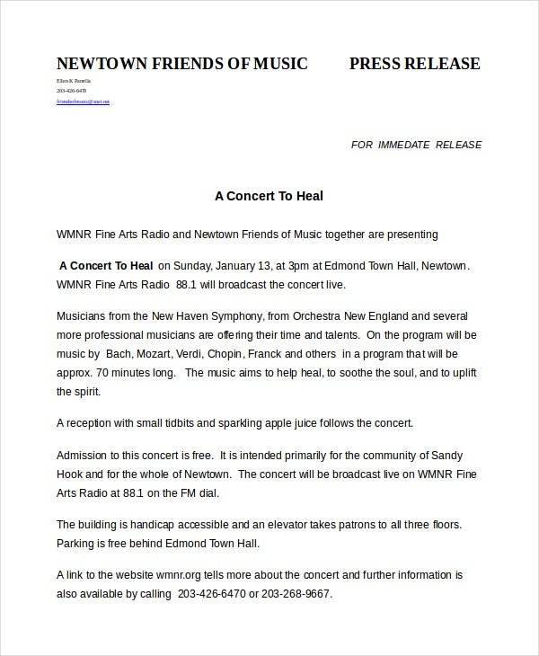 press release template 20 free word pdf document With concert press release template