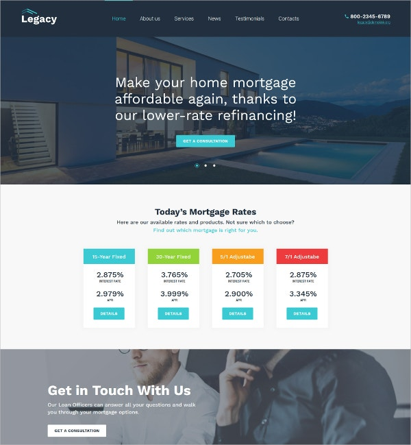 Real Estate & Mortgage WordPress Theme $75