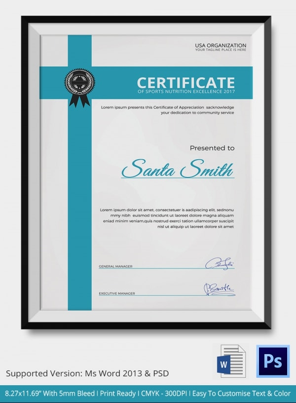 Certificate of Sports Nutrition Excellence