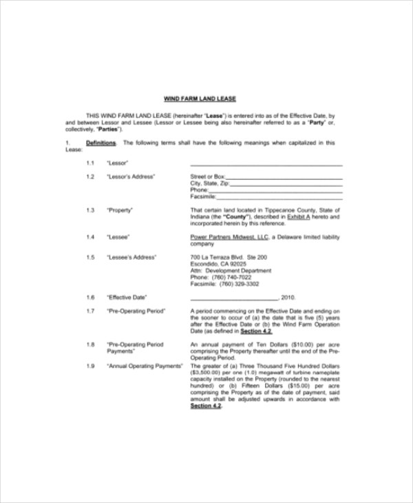 Doc7281068 Land Lease Agreement Template The Sample Land – Sample Land Lease Agreement Templates