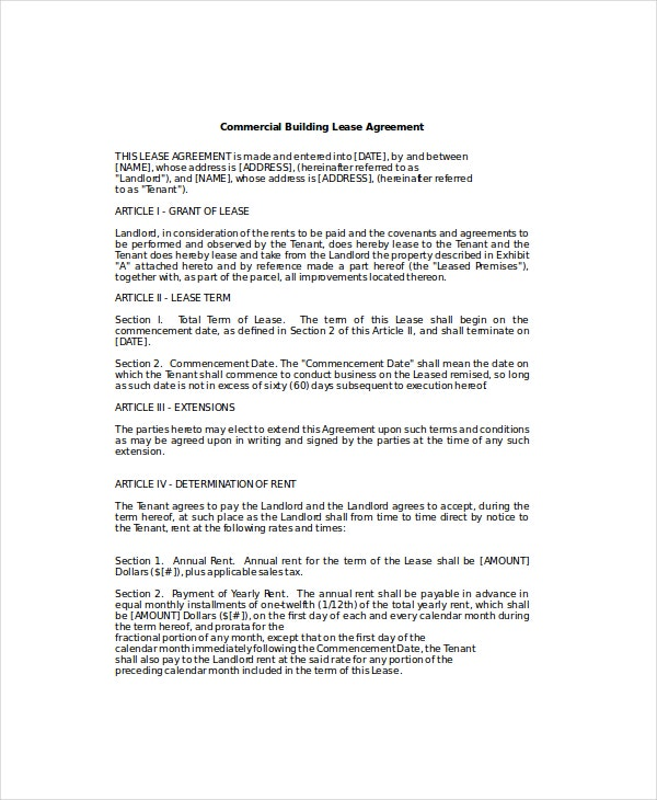 free commercial lease agreement template download - business lease template 6 free word pdf documents