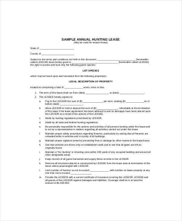 annual hunting lease