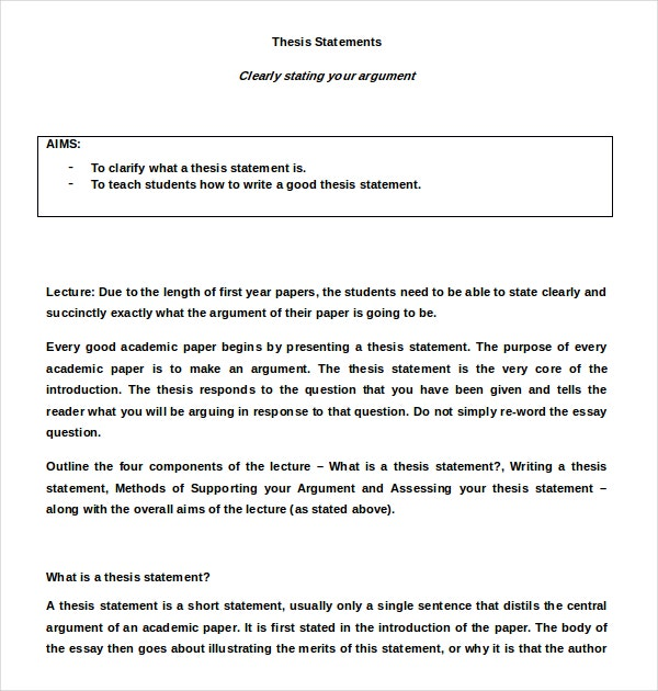 7+ Thesis Statement Examples Download In Word, Pdf | Free
