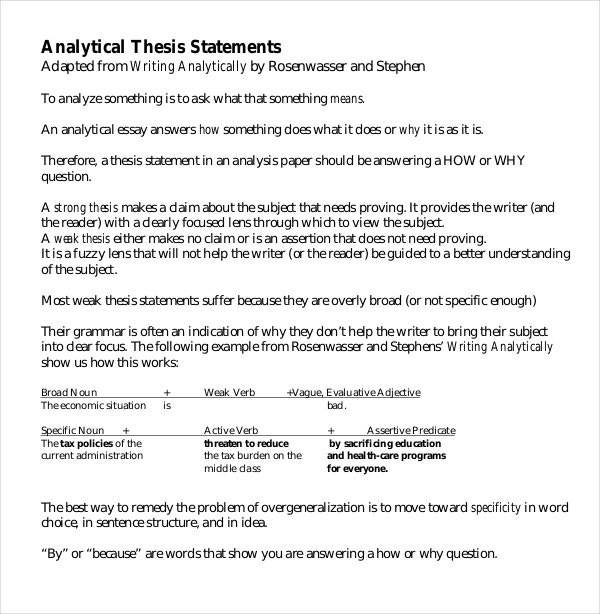 thesis statements list