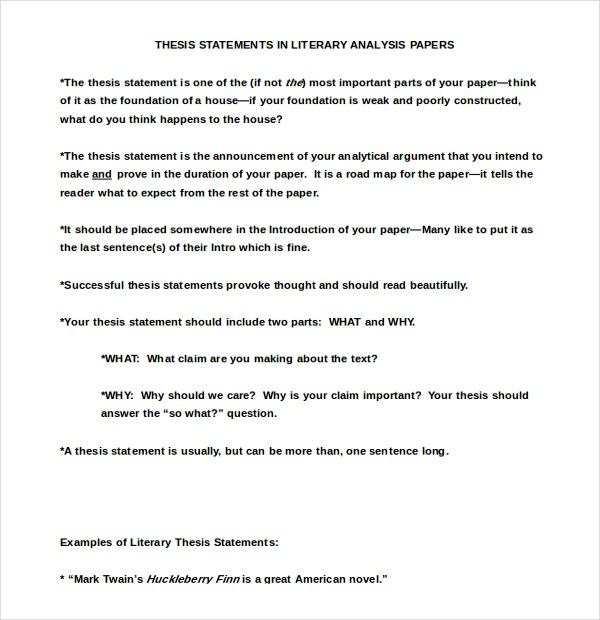 Literary Thesis Statement Template