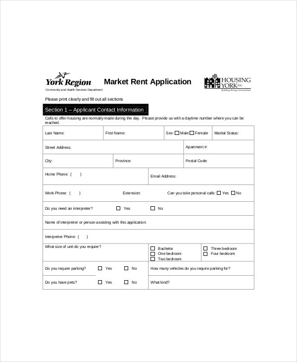 market rent application form