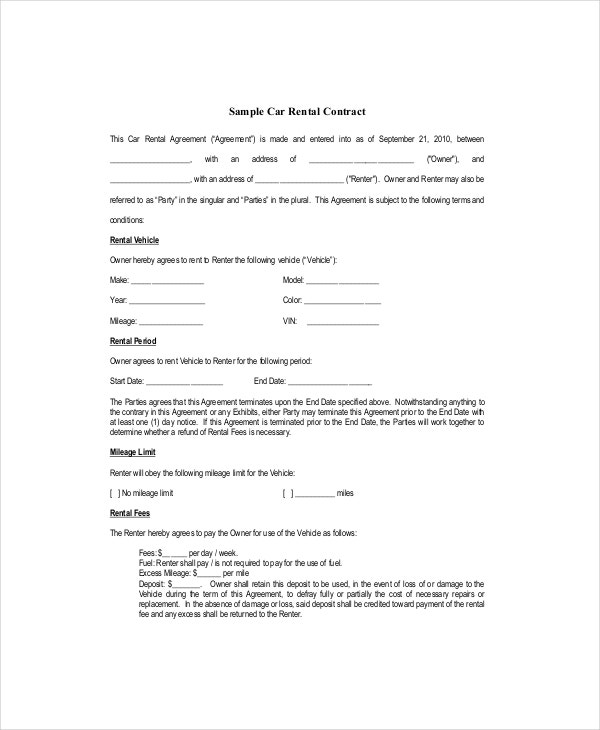 blank car rental lease contract