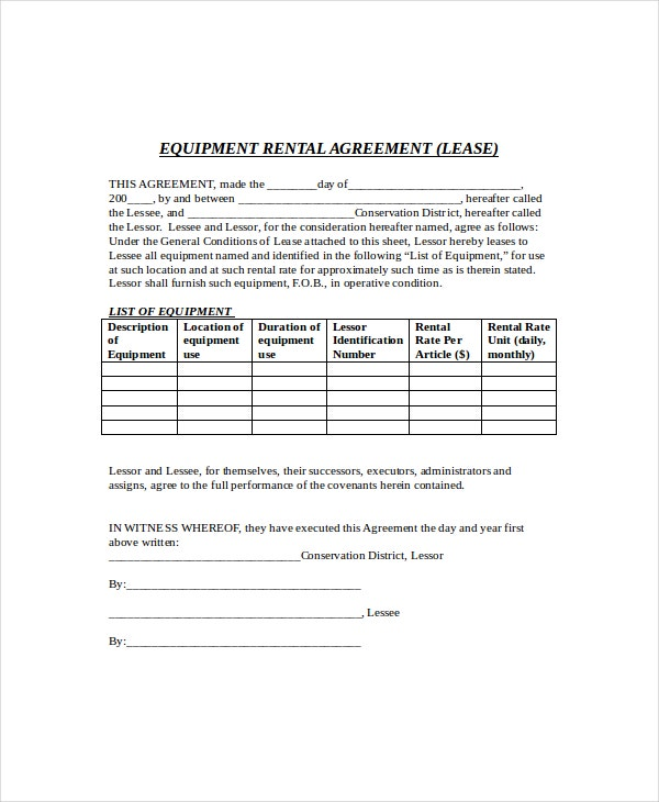 Equipment Lease Agreement | Equipment Lease Template 9 Free Word Pdf Documents Download