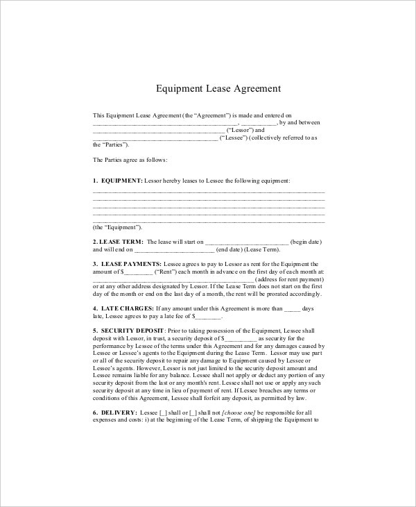 equipment lease agreement sample1