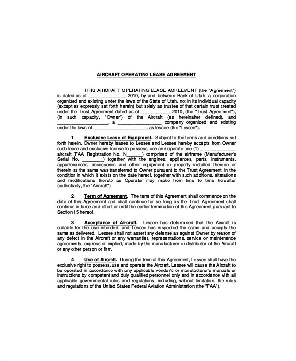 Captivating Aircraft Operating Lease Agreement Template