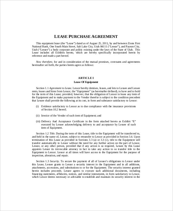 Superb Equipment Lease Agreement With Option To Purchase Template