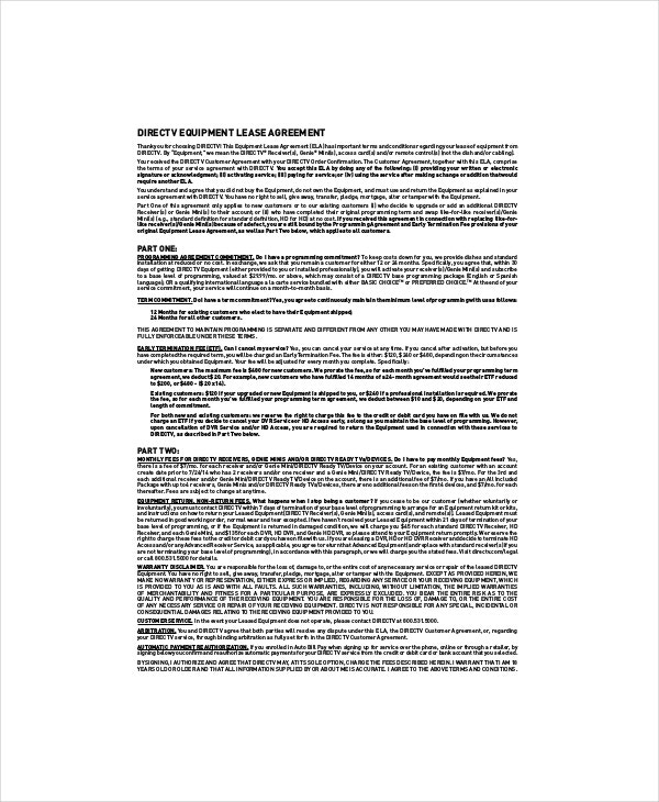 Directv Equipment Lease Agreement