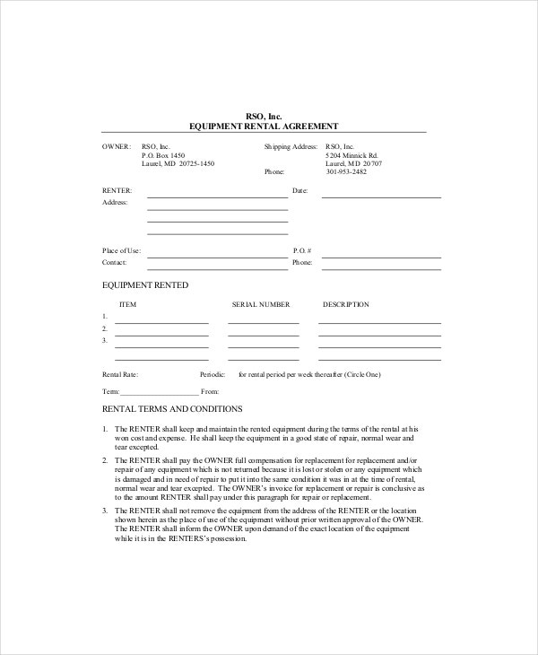blank equipment lease rental agreement