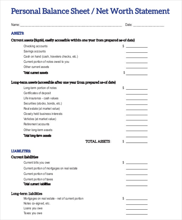 9 Balance Sheet Examples Download in Word PDF – Free Profit and Loss Template for Self Employed
