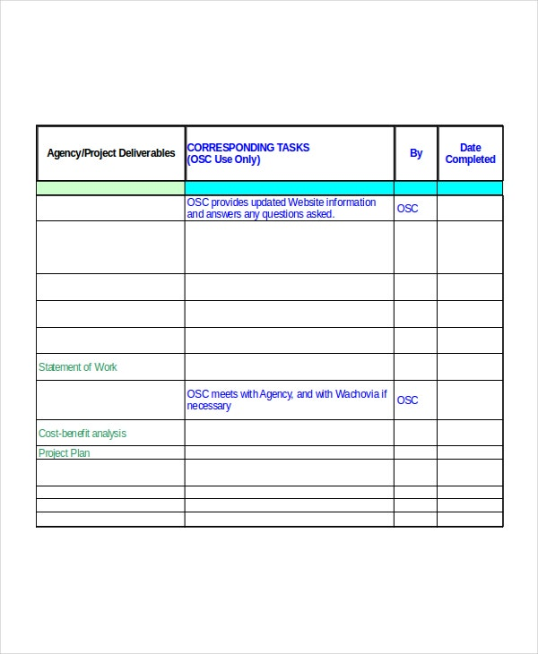 Excel Project Plan Template Free Excel Document Downloads - Project deliverables template