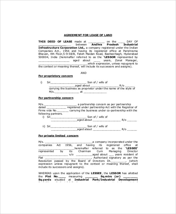 Land Lease Agreement Format
