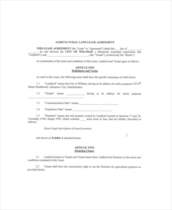 Land lease template 7 free word pdf documents download free agricultural land lease agreement platinumwayz