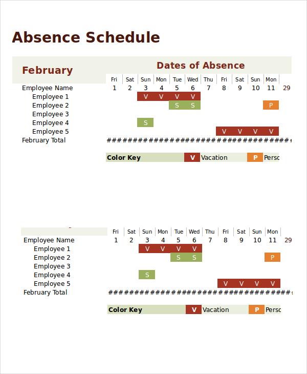 Absence Calendar Template Excel