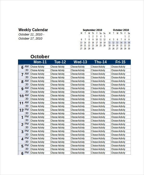Excel Calendar Template 7 Free Excel Documents Download Free