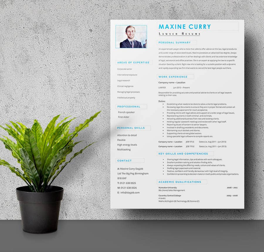 Lawyer Resume with Experience Template