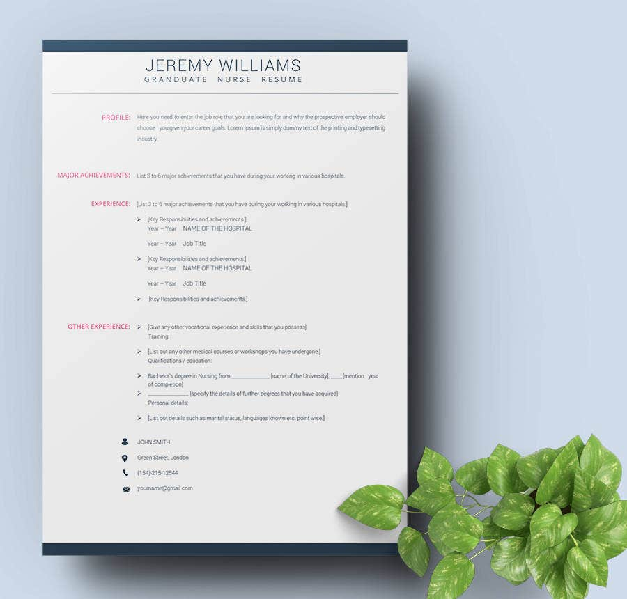 Graduate Nurse Resume Template