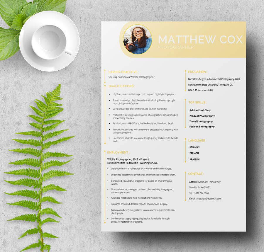 Photographer Resume Template Free Ms Word Format Intended