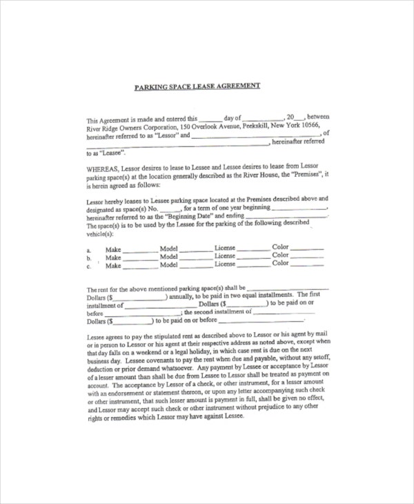 Sample Parking Space Lease Agreement