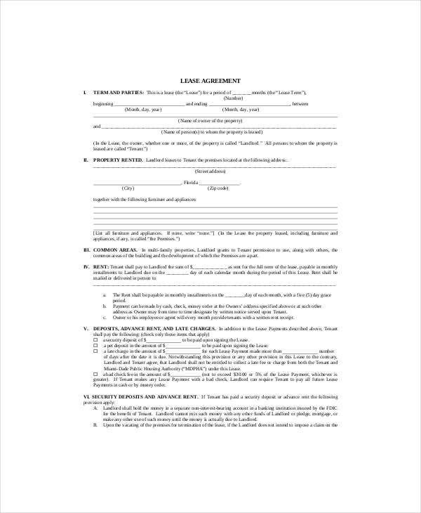 example lease agreement template