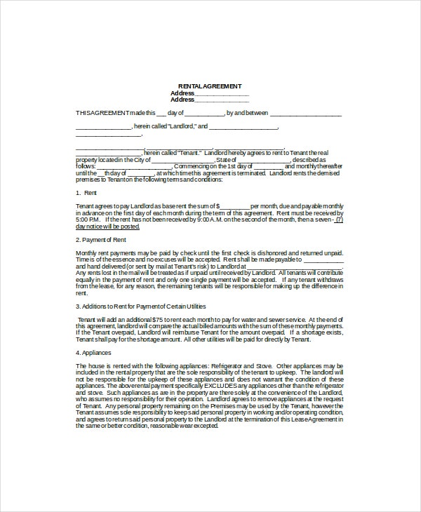 8 Lease Agreement Templates Free Sample Example Format – Lease Agreement Template in Word