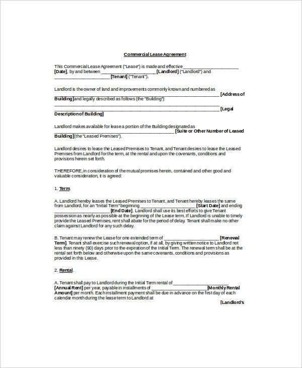 Lease Agreement Templates  Free Sample Example Format  Free