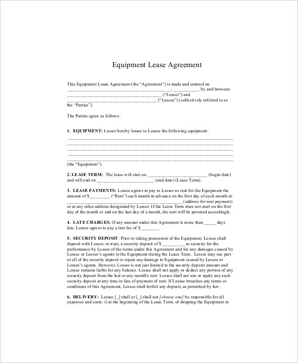 equipment lease agreement template1