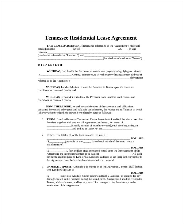 7 Residential Lease Templates Free Sample Example Format – Residential Lease
