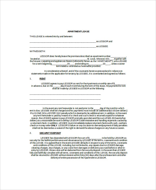 Apartment Lease Templates  Free Sample Example Format  Free