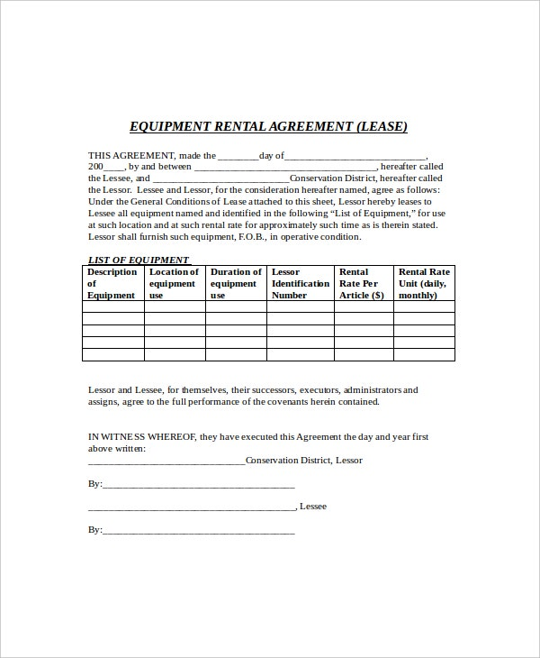 8 rental lease templates free sample example format for Equipment hire form template