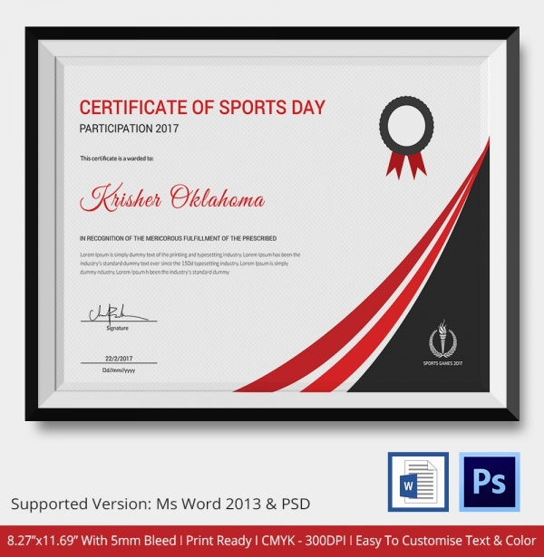 Certificate of Sports Day Participation