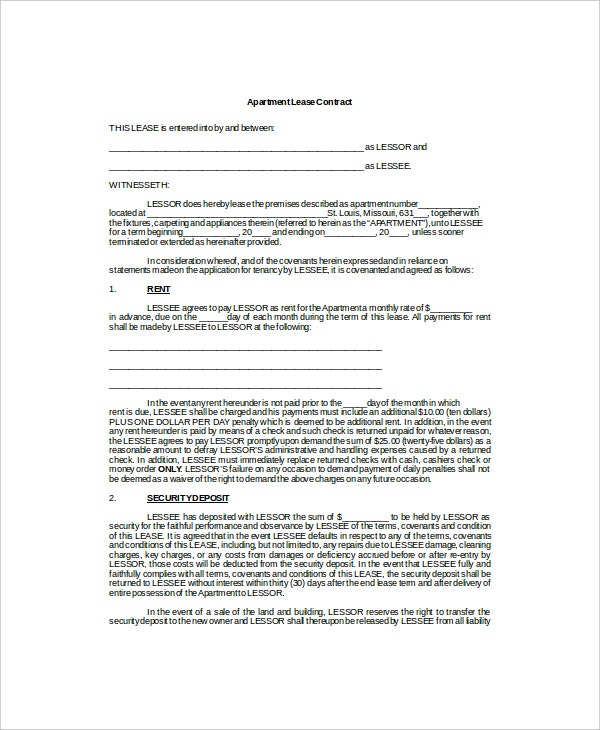 apartment lease contract template