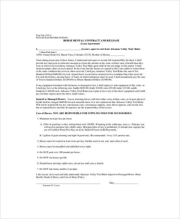 horse leasing contract template