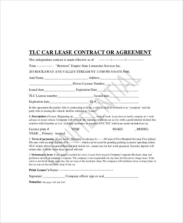 car lease contract template