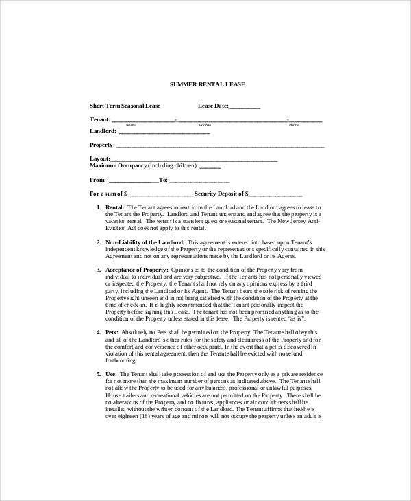 rental lease contract template