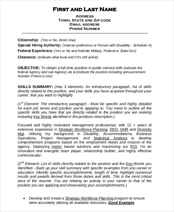 Federal Resume Template 8 Free Word Excel PDF Format