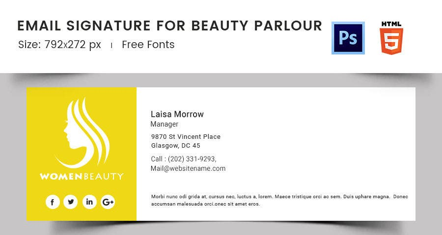 Email Signature for Beauty Parlour