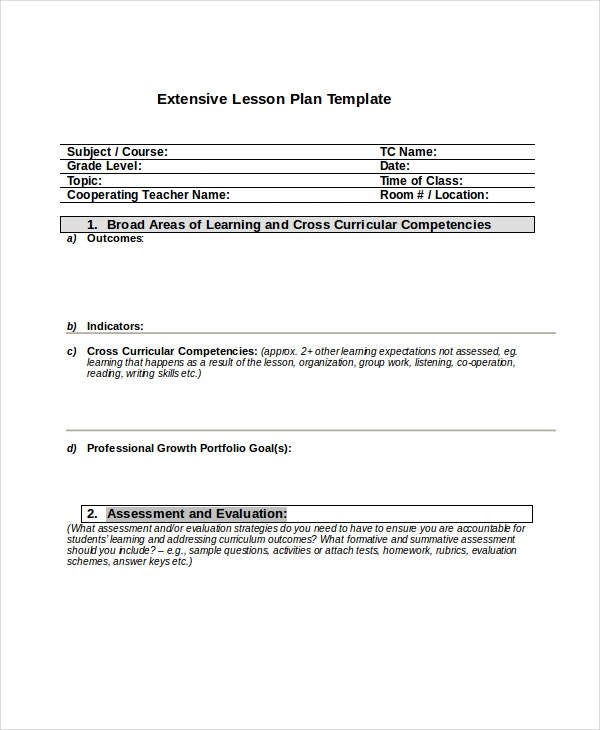 Extensive Lesson Plan Template