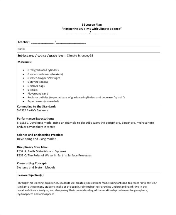 Student Lesson Planning Template