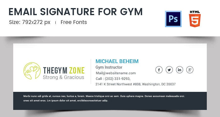 Email Signature for Gym