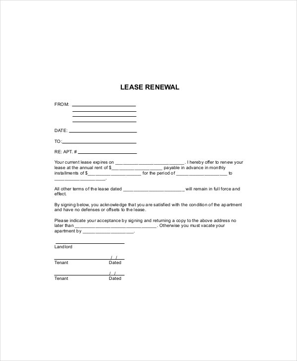 Lease Renewal Form Template  Lease Agreement Copy