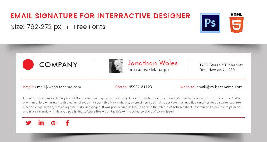 Email Signature for Interactive Designer