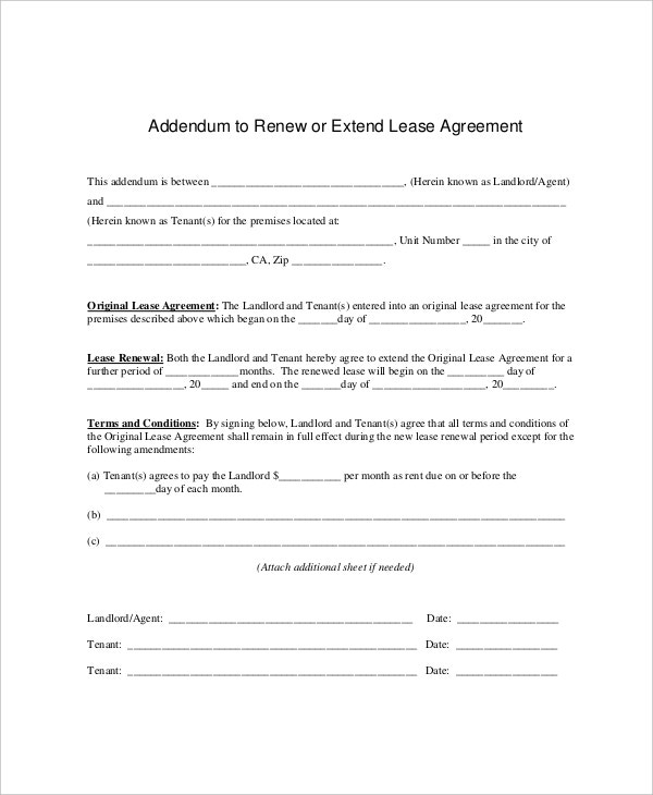 7 Lease Renewal Templates Free Sample Example Format – Lease Extension Agreement