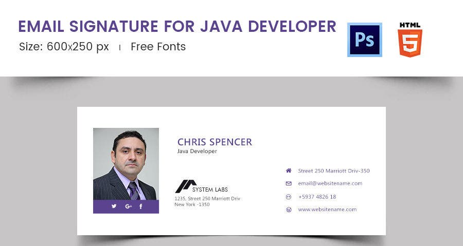 Email Signature for Java Developer
