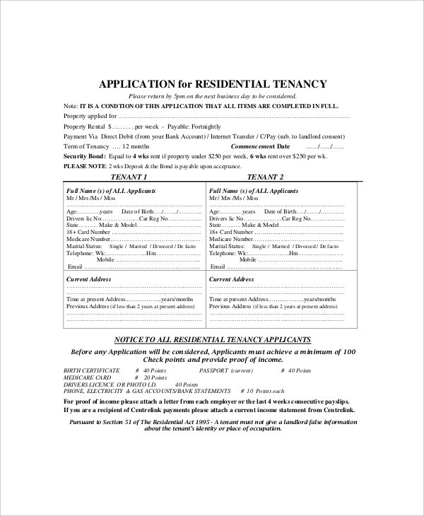 Rental Application Form Templates  Free Sample Example Format