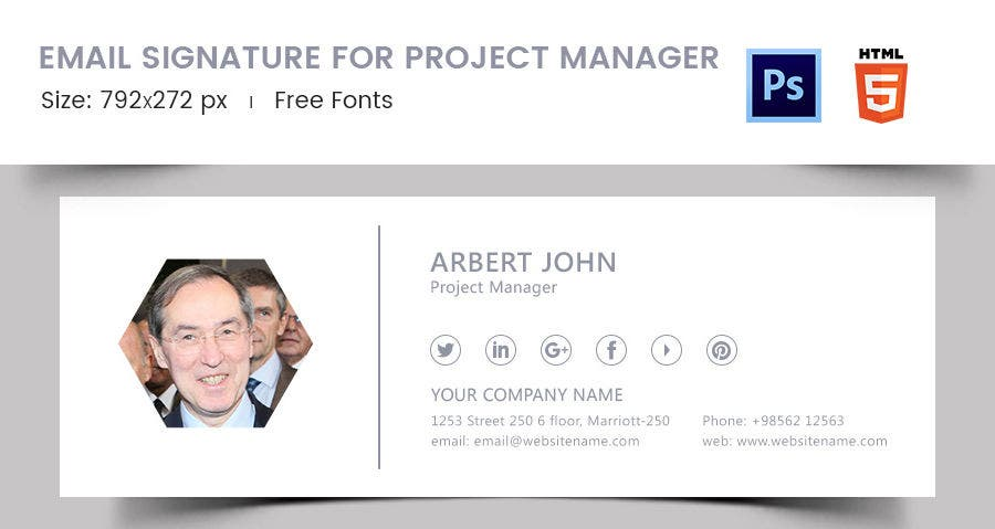 96 responsive email signatures free premium templates for Project manager email templates